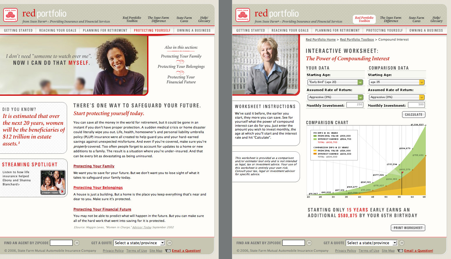 SF Red Portfolio section home and interest calculator