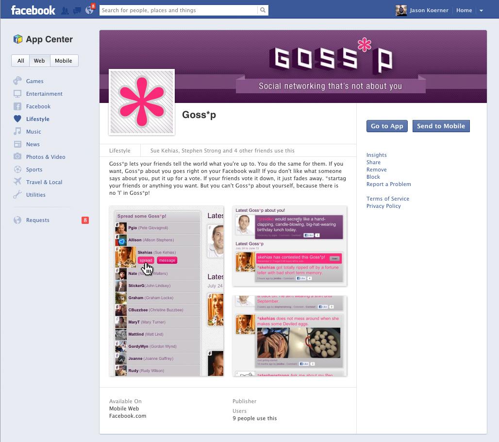 Goss-p.com Facebook App page