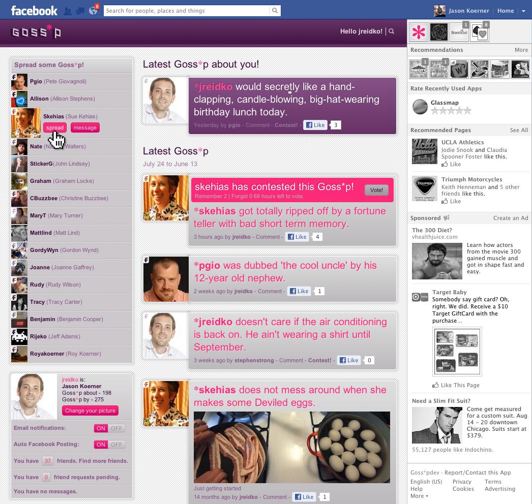 Goss-p.com Facebook UI