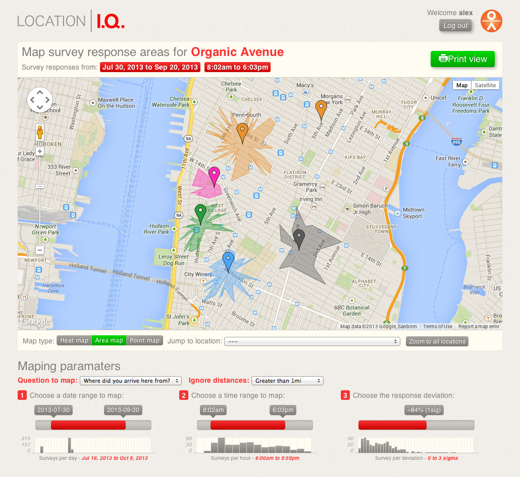 Location I.Q. Mapping Tool - Area Map